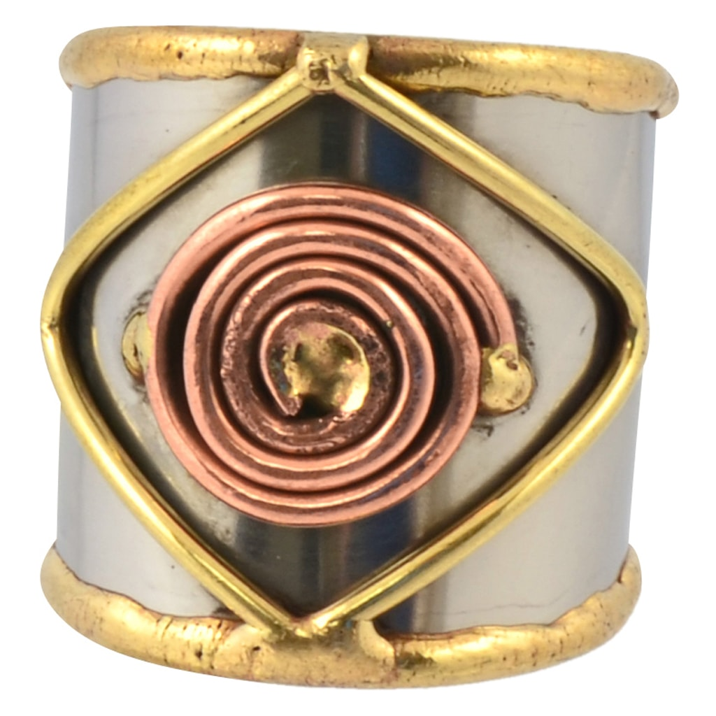 Anju Mixed Metal Adjustable Square and Spiral Cuff Ring in Stainless Steel, Brass and Copper