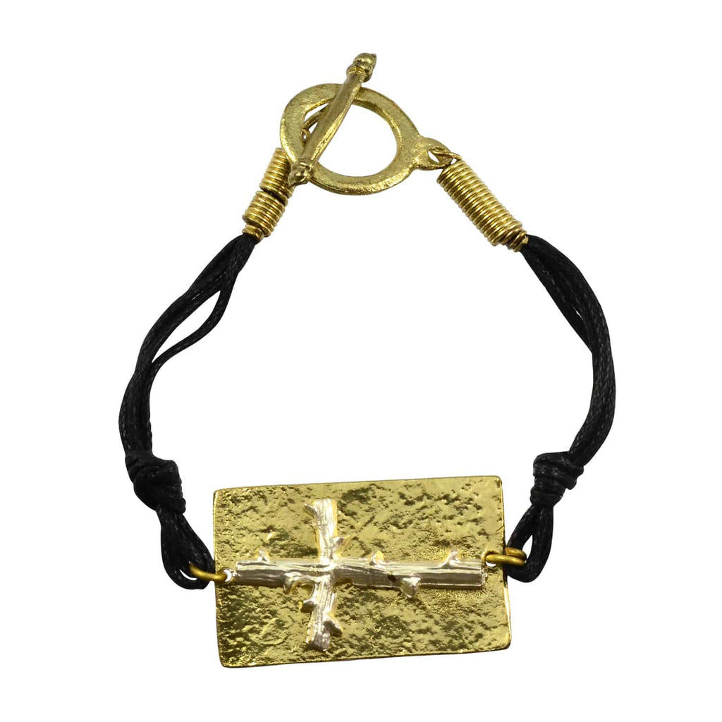 Anju Goldtone Rectangle Cross Bracelet with Leather Straps