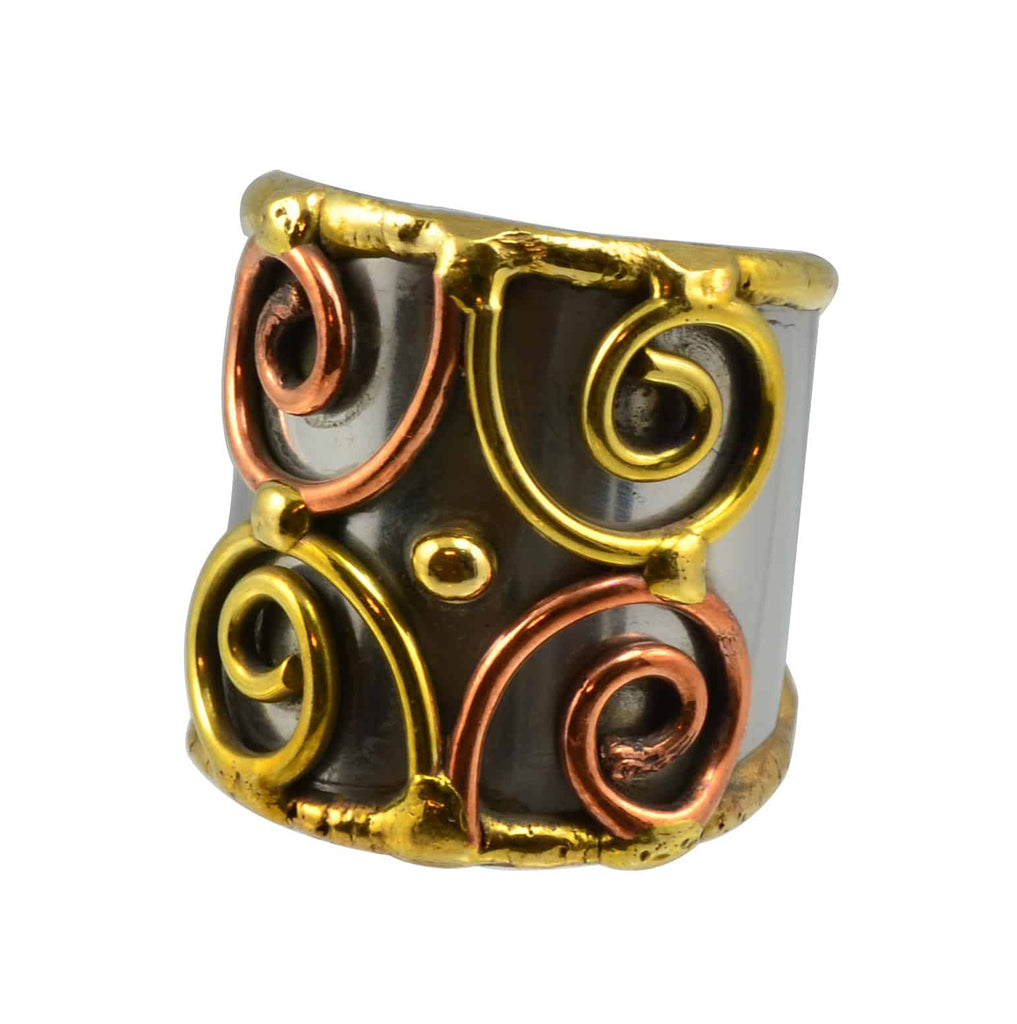 Anju Mixed Metal Adjustable Four Spiral Cuff Ring in Stainless Steel, Brass and Copper