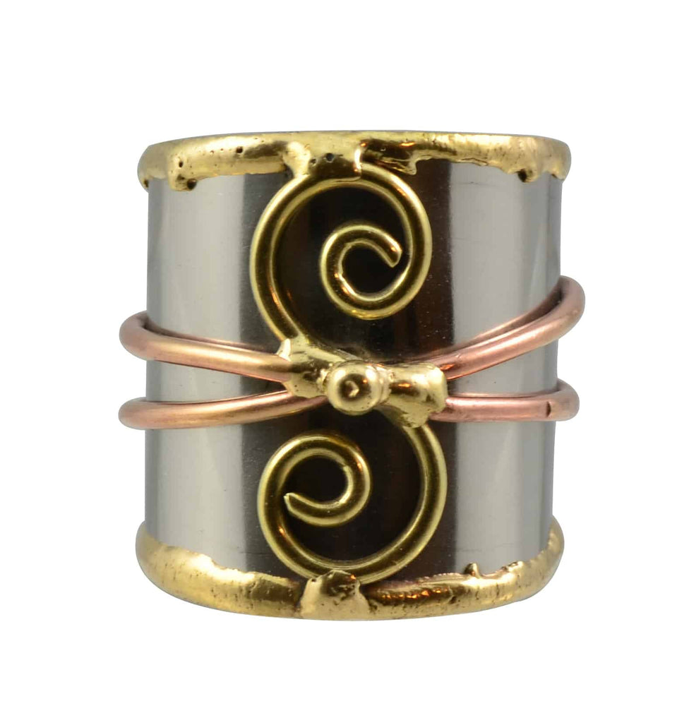 Anju Mixed Metal Adjustable Two Spiral and Band Cuff Ring in Stainless Steel, Brass and Copper