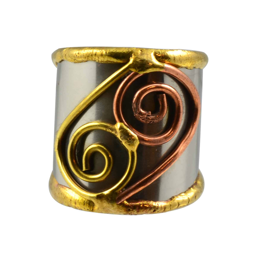 Anju Mixed Metal Adjustable Yin Yang Spiral Cuff Ring in Stainless Steel, Brass and Copper