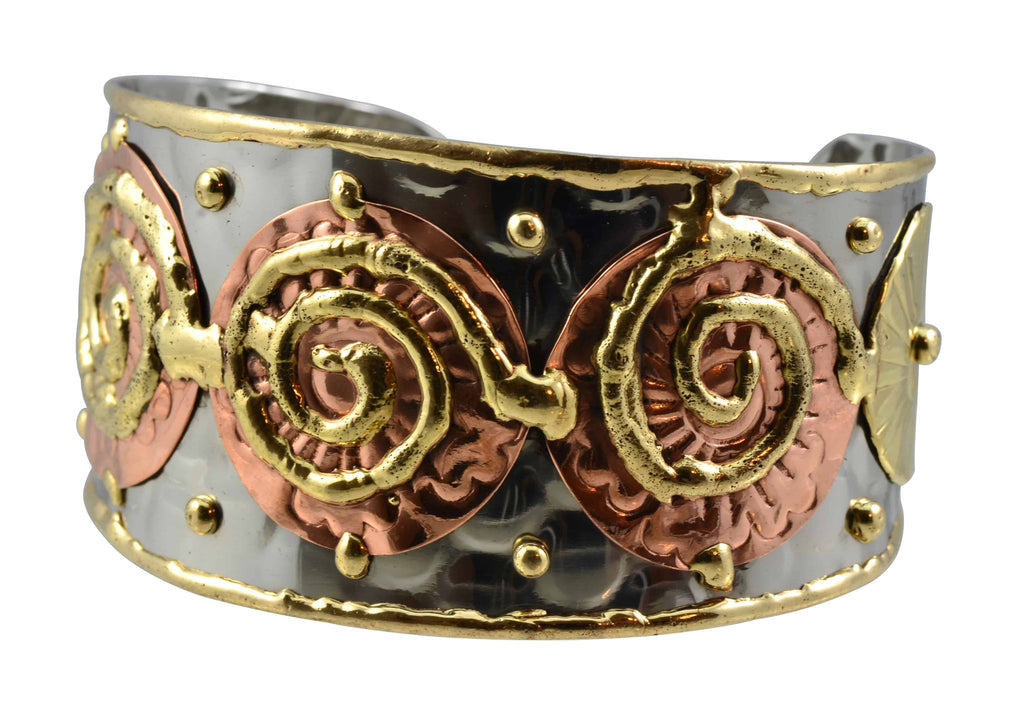 Anju Mixed Metal Cuff Bracelet with 3 Copper Disks and Spirals