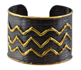 Anju Mixed Metal Cuff Bracelet with Antique Copper with Wave Pattern