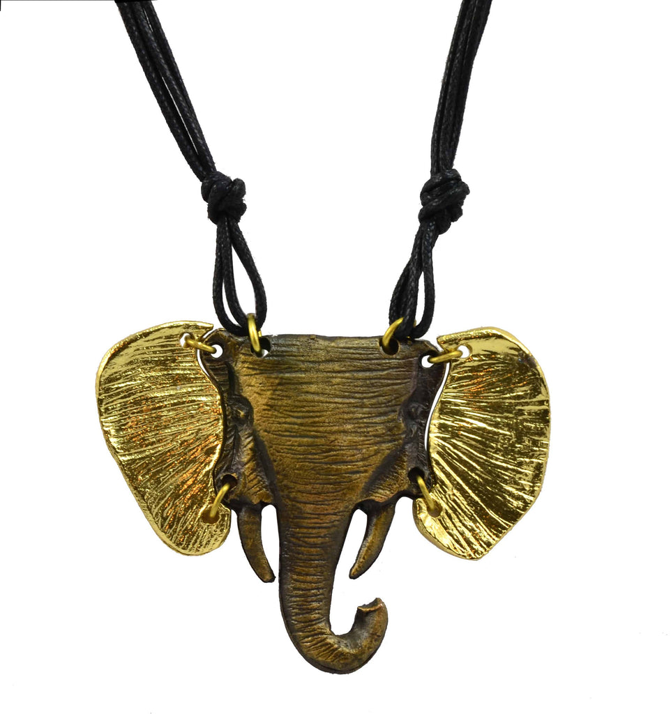 Anju Mixed Metal Gold Tone Elephant Pendant Necklace in Stainless Steel, Brass and Copper with Leather Strap