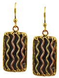 Anju Mixed Metal Rectangle River Dangle Earrings in Stainless Steel, Brass and Copper