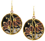 Anju Mixed Metal Round Flower Dangle Earrings in Stainless Steel, Brass and Copper