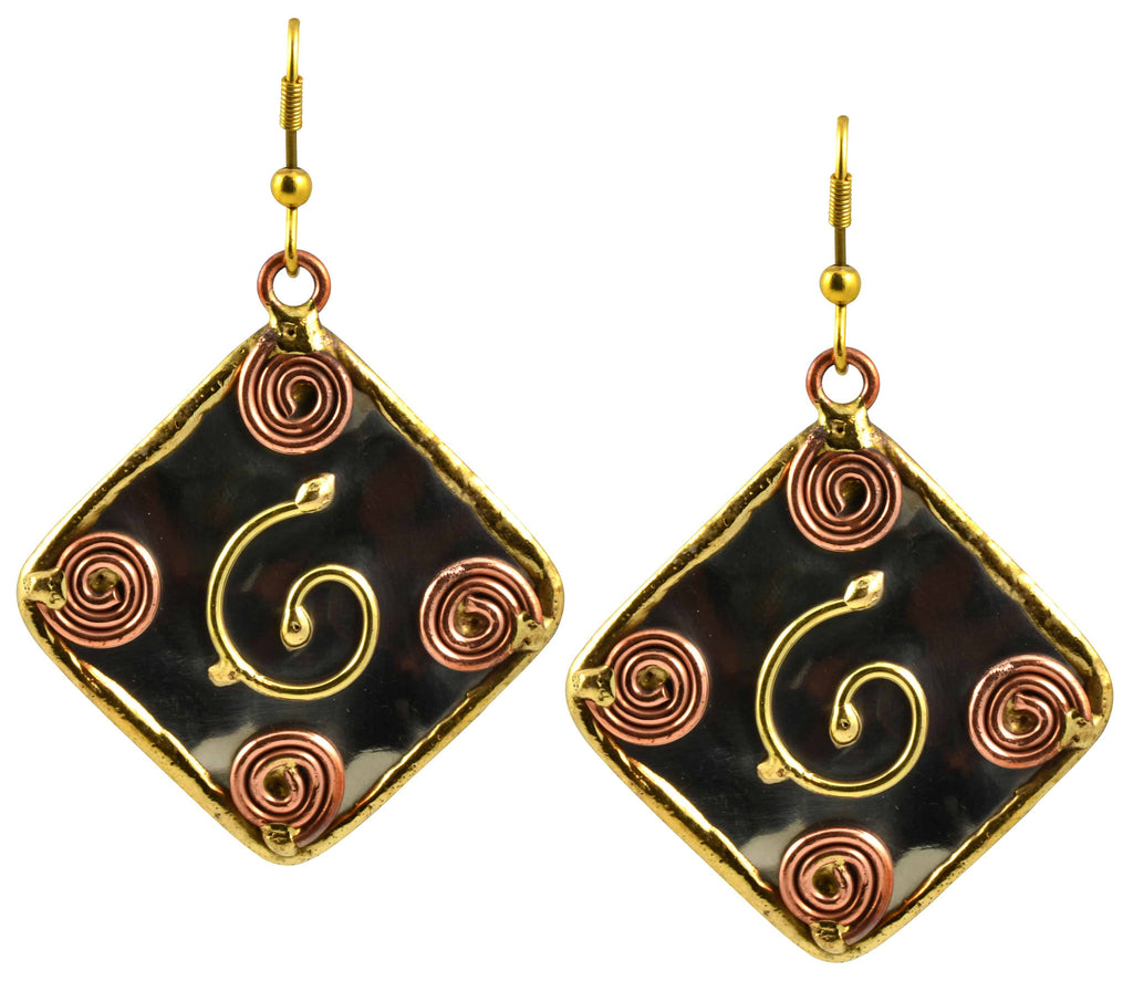 Anju Mixed Metal Square Scrollwork Dangle Earrings in Stainless Steel, Brass and Copper
