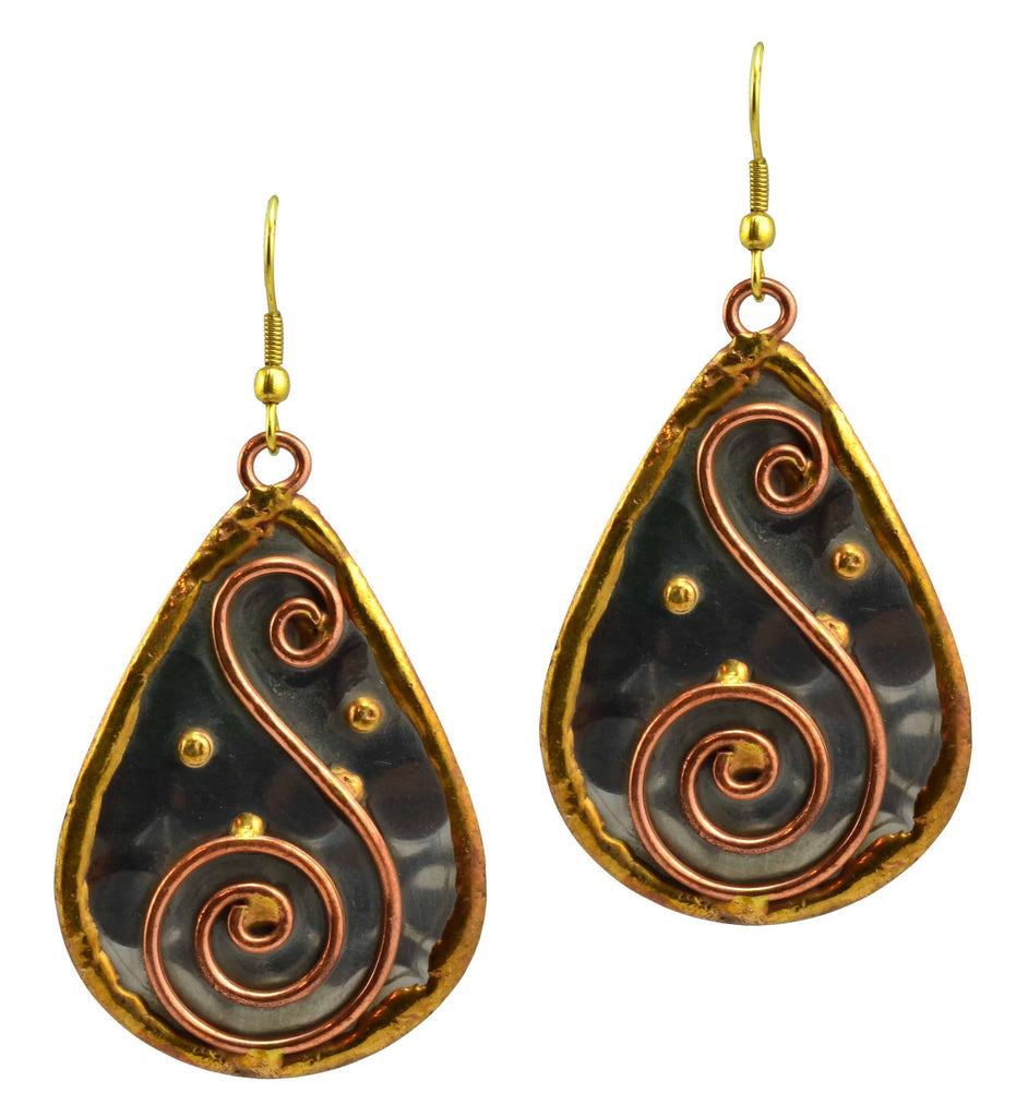Anju Mixed Metal Teardrop S Spiral Dangle Earrings in Stainless Steel, Brass and Copper