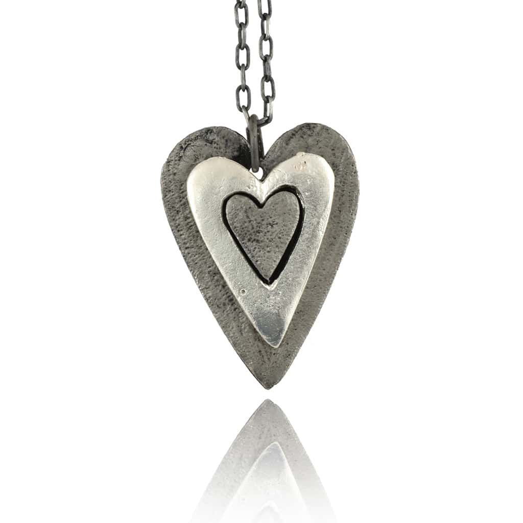 Anju Pewter Layered Heart Pendant Necklace, Silvertone with Antiqued Chain, 18+2""