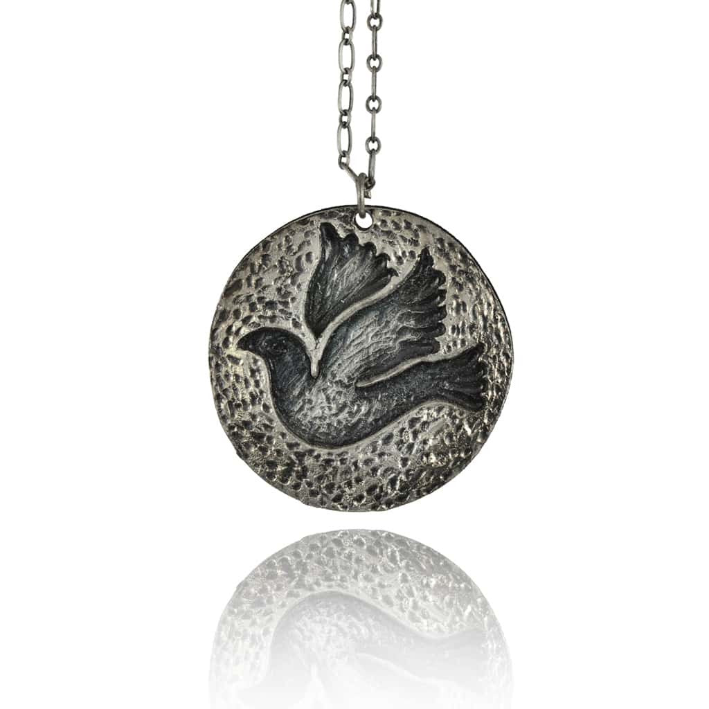 Anju Pewter Dove Pendant Necklace, Silvertone with Antiqued Chain, 18+2""