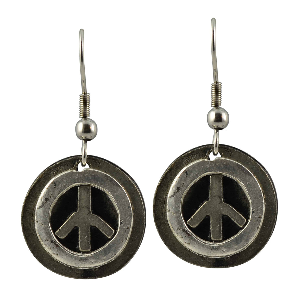 Anju Peace Sign Dangle Earrings in Pewter