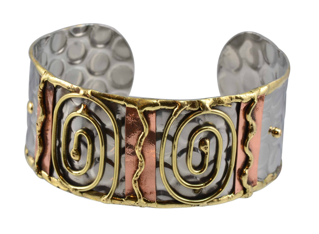 Anju Thin Stainless Steel Cuff Bracelet with Brass and Copper Scroll Work Spirals and Squiggles
