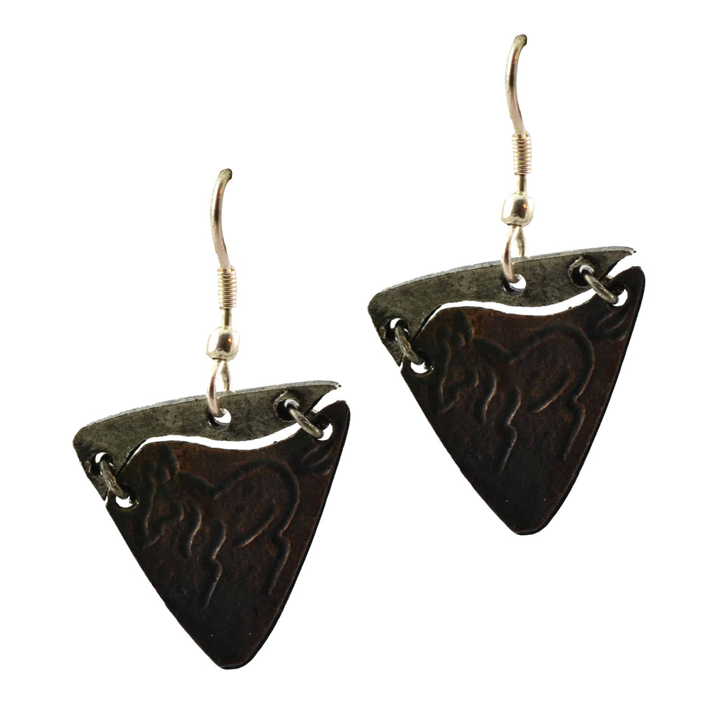 Anju Triangular Pewter Dangle Earrings With Running Horse Etching in Stainless Steel and Copper