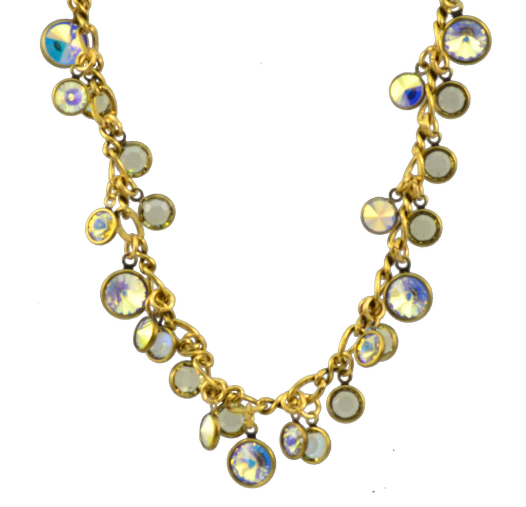 Anne Koplik Antique Brass Plated Bubbles Necklace with Swarovski Elements Crystal