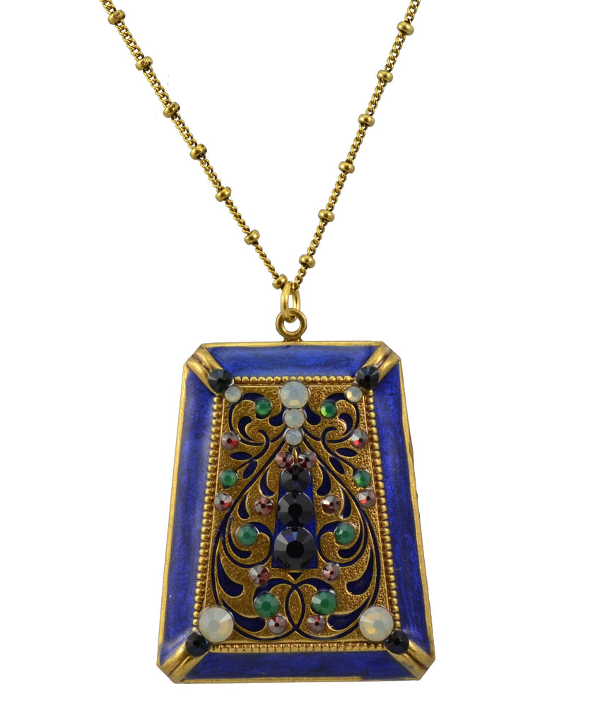 Anne Koplik Antique Brass Plated Faceted Rectangle Necklace with Swarovski Elements Crystal
