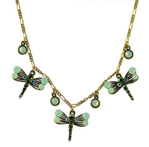 Anne Koplik Antique Gold Plated 3 Fila Dragonflies Necklace with Swarovski Elements Crystal