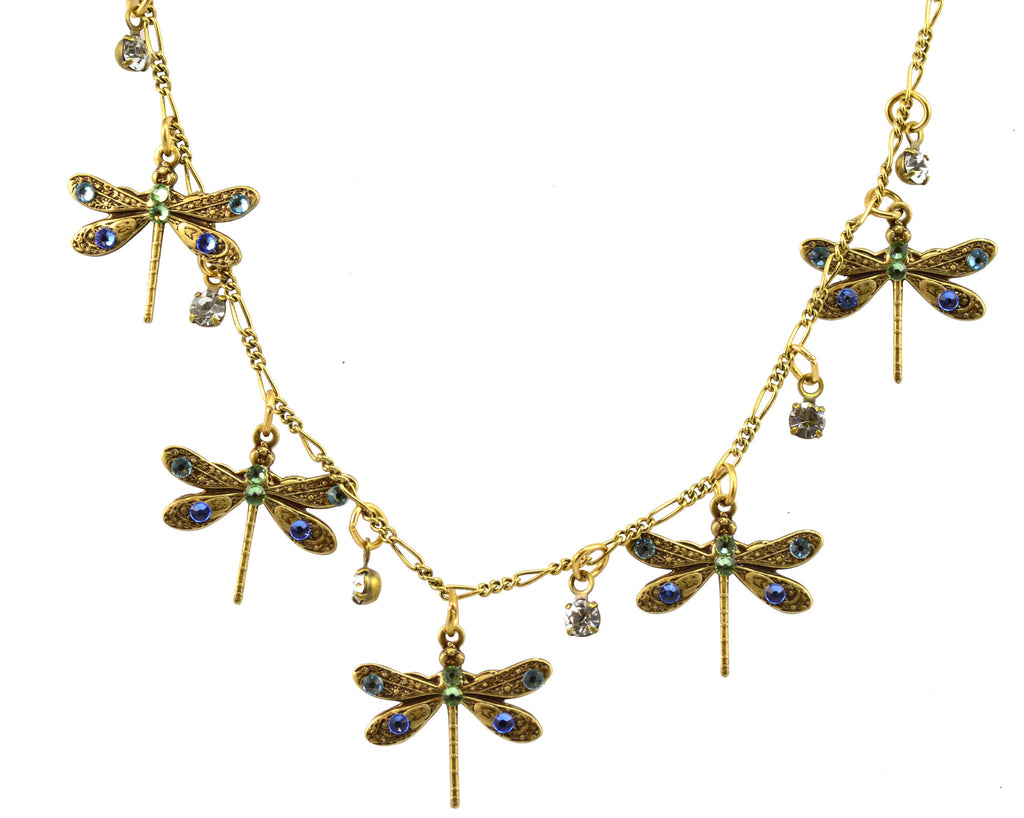 Anne Koplik Antique Gold Plated 5 Small Dragonflies with Drops Necklace with Swarovski Elements Crystal