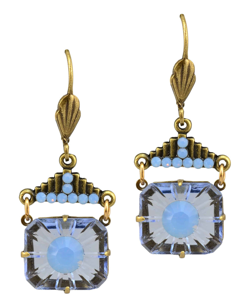 Anne Koplik Antique Gold Plated Burst Dangle Earrings with Step-Top with Swarovski Elements Crystal