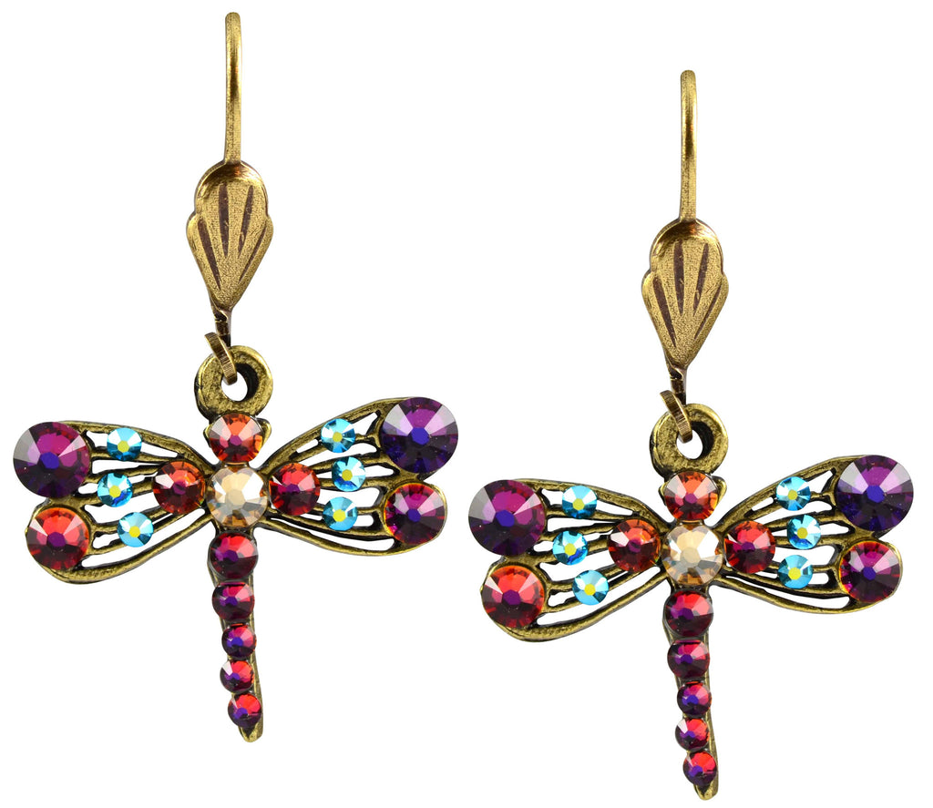 Anne Koplik Antique Gold Plated Swarovski Crystal Dragonfly Dangle Earrings