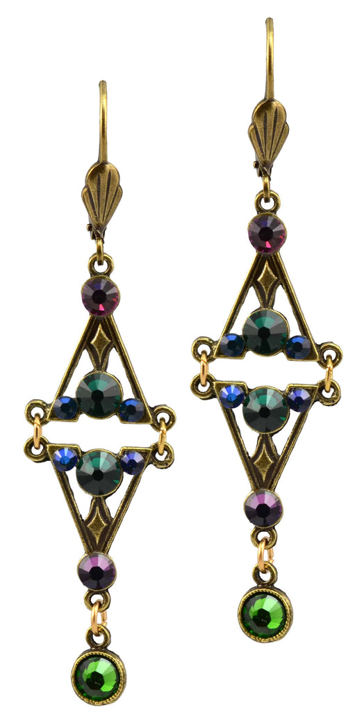Anne Koplik Antique Gold Plated Fancy Bookend Triangle Dangle Earrings with Swarovski Elements Crystal