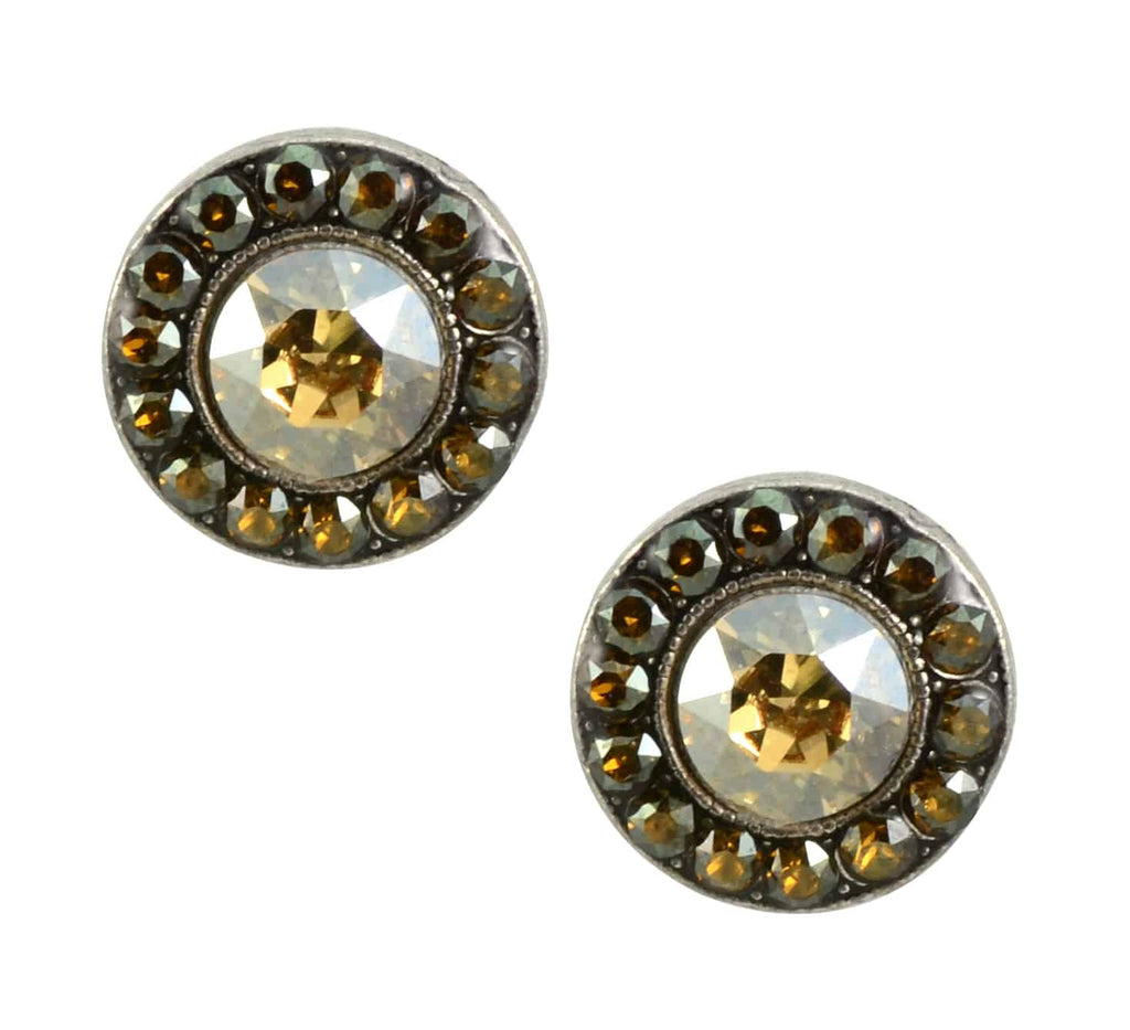 Anne Koplik Antique Gold Plated Jewelled Stud Earrings with Swarovski Elements Crystal
