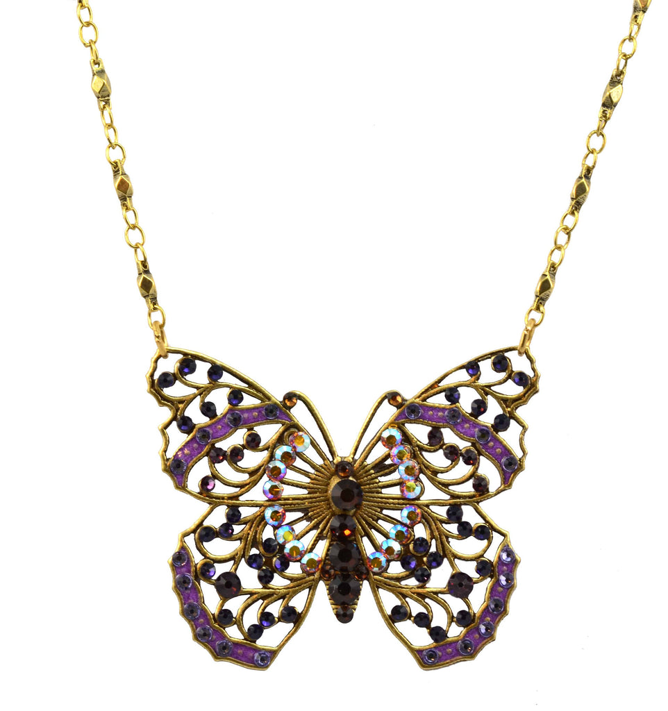 Anne Koplik Antique Gold Plated Large Filigree Butterfly Necklace with Swarovski Elements Crystal