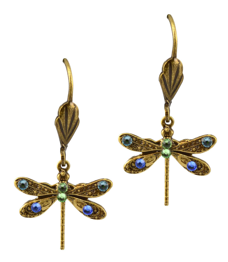 Anne Koplik Antique Gold Plated Mini Dragonfly Dangle Earrings with Swarovski Elements Crystal