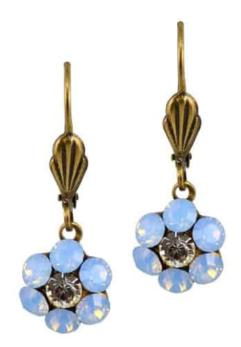 Anne Koplik Antique Gold Plated Mini Flower Dangle Earrings with Swarovski Elements Crystal