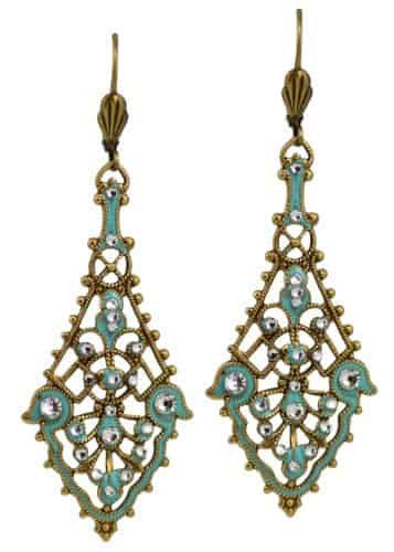 Anne Koplik Antique Gold Plated Pendulum Strand Textured Dangle Earrings with Swarovski Elements Crystal