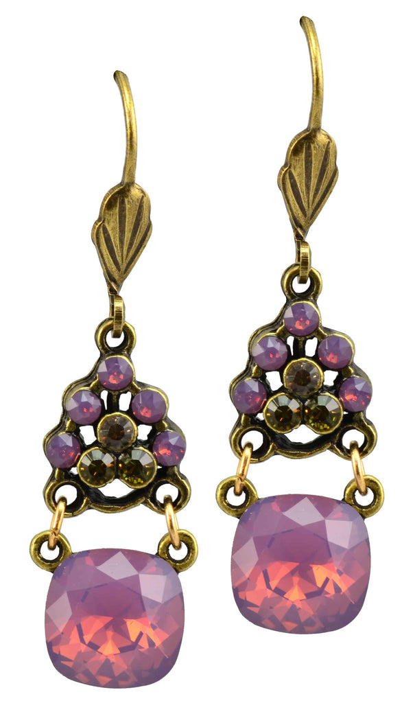Anne Koplik Antique Gold Plated Triangle Dangle Earrings with Swarovski Elements Crystal