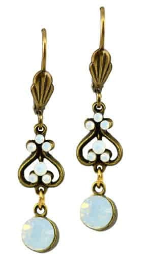 Anne Koplik Antique Gold Plated Up and Down Heart Dangle Earrings with Small Swarovski Elements Crystal