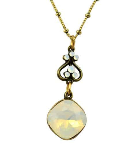 Anne Koplik Antique Gold Plated Up and Down Heart Pendant Necklace with Swarovski Elements Crystal