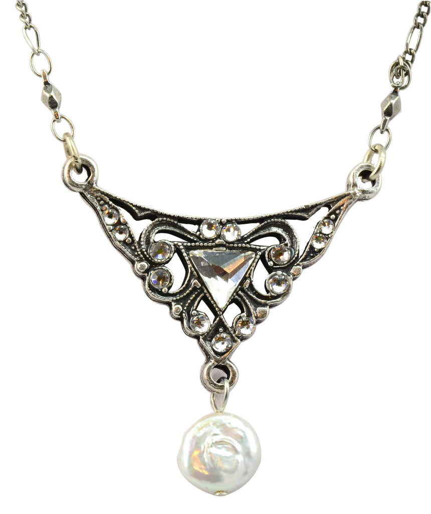 Anne Koplik Antique Silver Plated Arrow Necklace with Flat Pearl Dangle with Swarovski Elements Crystal