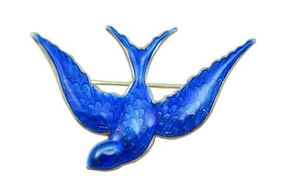 Anne Koplik Antique Silver Plated Bluebird Pin