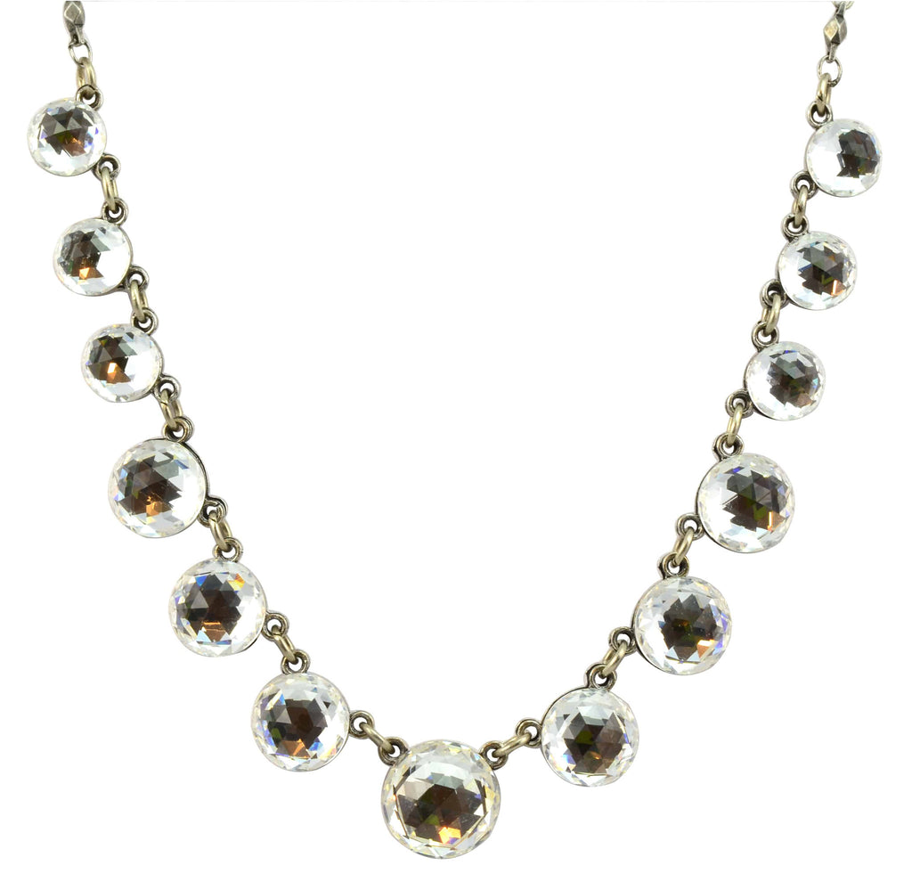 Anne Koplik Antique Silver Plated Crystal Bubble Necklace with Swarovski Elements Crystal