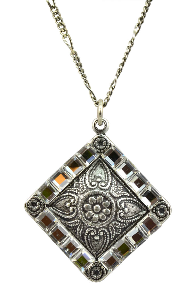 Anne koplik antique silver plated diamond filigree pendant anne koplik antique silver plated diamond filigree pendant necklace with swarovski elements crystal aloadofball Choice Image