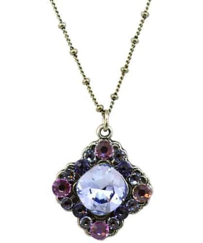 Anne Koplik Antique Silver Plated Faceted Stone Necklace with Swarovski Elements Crystal