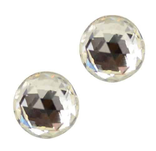 Anne Koplik Antique Silver Plated Faceted Crystal Stud Earrings with Swarovski Elements Crystal