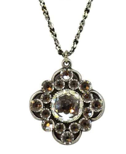 Anne Koplik Antique Silver Plated Open Stone Clover Necklace with Swarovski Elements Crystal