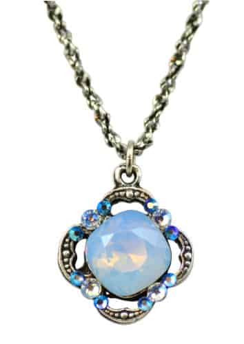 Anne Koplik Antique Silver Plated Simple Faceted Clover Pendant Necklace with Swarovski Elements Crystal