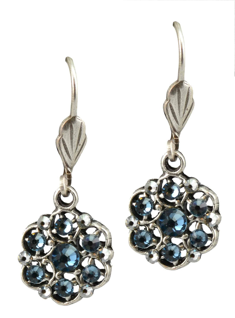 Anne Koplik Antique Silver Plated Small Stone Wreath Dangle Earrings with Swarovski Elements Crystal