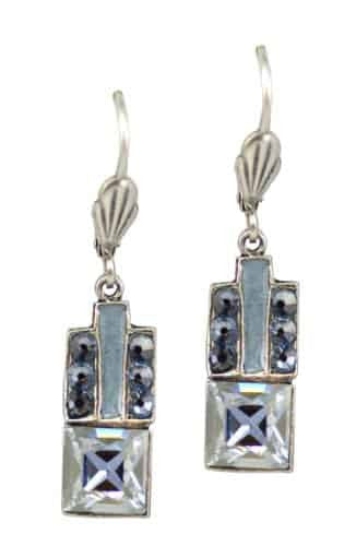 Anne Koplik Antique Silver Plated Square Art Deco Dangle Earrings with Swarovski Elements Crystal
