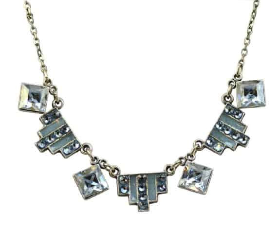 Anne Koplik Antique Silver Plated Square Art Deco Necklace with Swarovski Elements Crystal