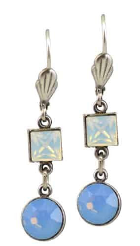 Anne Koplik Antique Silver Plated Square and Circle Dangle Earrings with Swarovski Elements Crystal