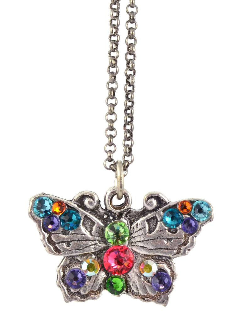 Anne Koplik Butterfly Pendant Necklace, Silver Plated with Swarovski Crystals, 18 NSG404MUL