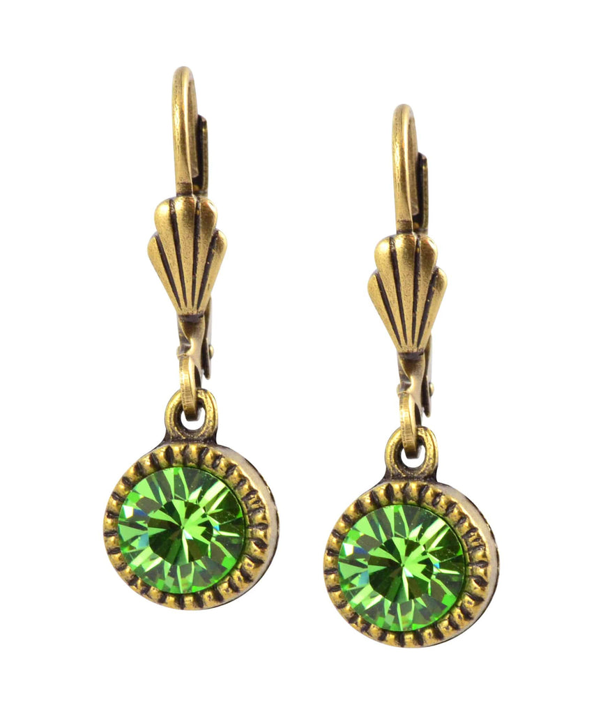 Anne Koplik Circle Earrings, Gold Plated with Green Swarovski Crystal ER02PER