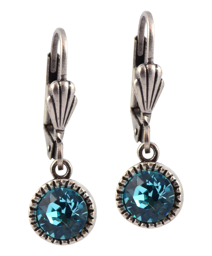 Anne Koplik Circle Earrings, Silver Plated with Blue Swarovski Crystal ES03LTU