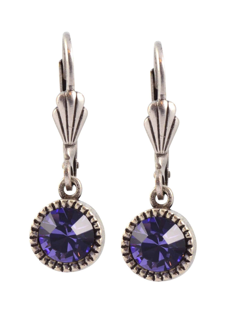Anne Koplik Circle Earrings, Silver Plated with Purple Swarovski Crystal ES03TAZ