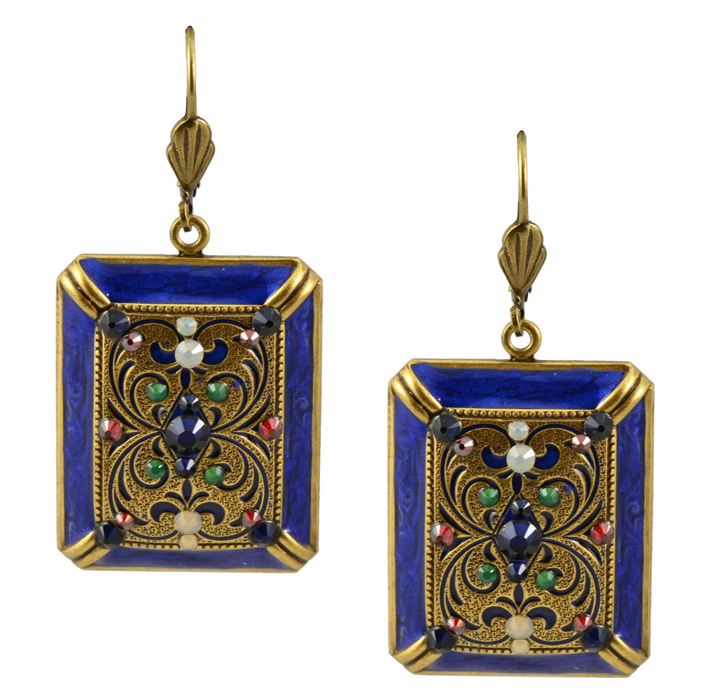 Anne Koplik Dangle Earrings, Gold Plated Filigree Rectangle with Swarovski Elements Crystal