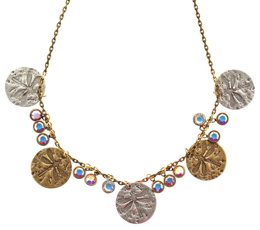 Anne Koplik Dragonfly Disk Necklace, Gold Plated with Swarovski Crystals, 16 NK4667BCAB